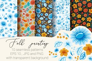 Folk painting. 10 seamless patterns