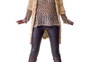 happy stylish woman in winter coat o