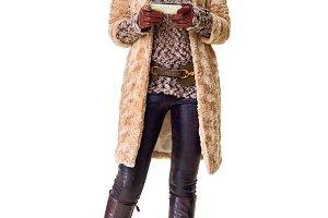 smiling modern fashion-monger on whi