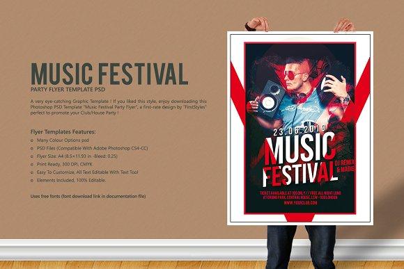 music festival party flyer flyer templates creative market