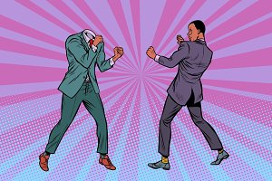 Two men businessman fighting