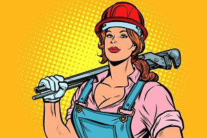 Pop art woman plumber mechanic with