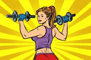 Pop art Sporty woman with dumbbells