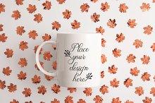 Autumn Fall white coffee mug mockup