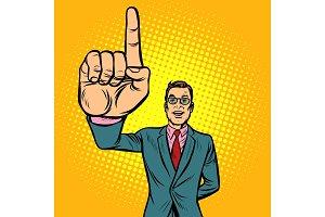 attention gesture man. index finger
