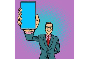 businessman shows a smartphone