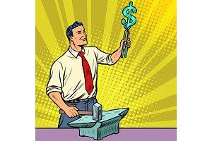 Businessman blacksmith forges money