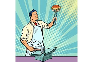 Cook blacksmith forges a Burger on