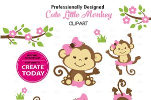 Girl Cute pink monkey clipart set