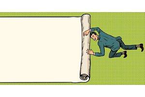 man unfolds folds paper background