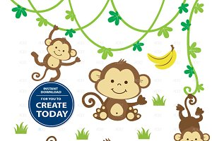 Cute boy monkey clipart jungle set