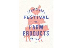 Poster for farm fest. Cow, pig