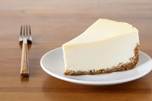 Slice of plain New York Cheesecake