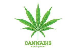 Cannabis or Marijuana Leaf Emblem