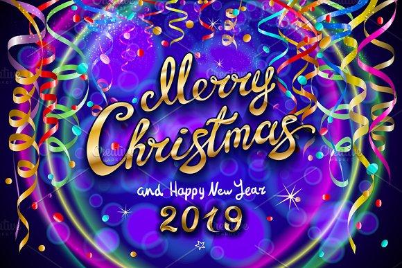 Merry Christmas Happy New Year 2019 ~ Graphics ~ Creative Market