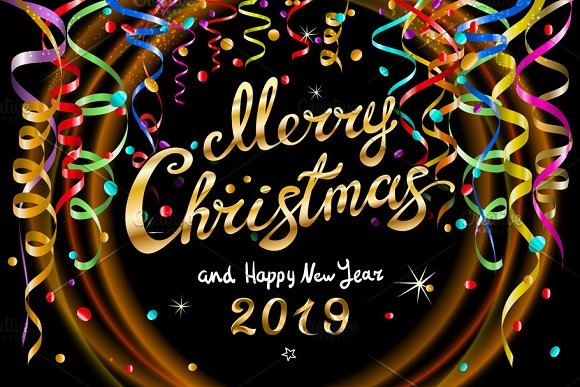 Merry Christmas Happy New Year 2019 ~ Graphics ~ Creative Market