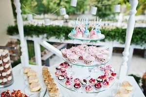 Table catering with different cakes