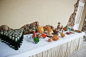 Table catering with beer and snacks
