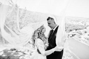 Wedding couple hugging under veil of