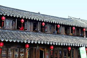 Chinese tea house red lanterns