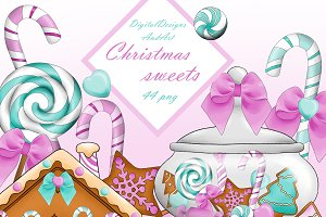 Christmas candy in pink and mint