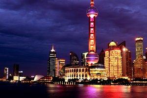 ShangHai TV Tower Skyscrapers Night