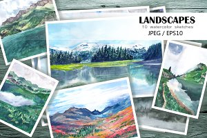 Watercolor sketches. Mountains