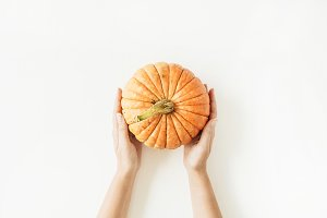 Fall pumpkin in female hands