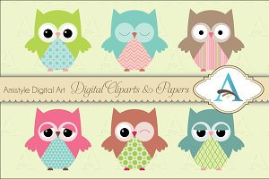 Owls Clipart Set