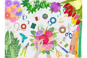 Floristics vector florists hands