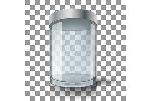 Empty glass cylinder