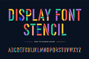 Stencil font. Colorful condensed