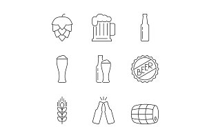 Simple icons beer set