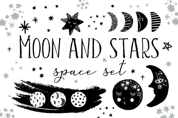 Moon and stars prints collection