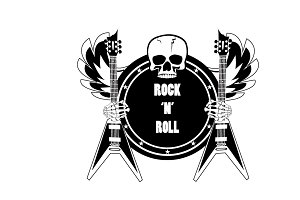 Rock guitar logo with skull