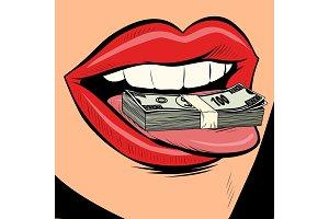 money dollars female tongue mouth
