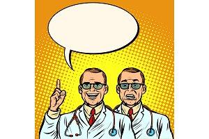 Two doctors joyful and skeptical