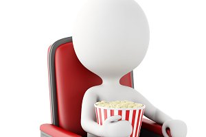 3d white people with popcorn. Isolat