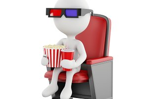 3d white people with popcorn and dri