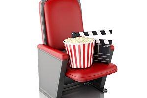 3d Cinema clapper board and popcorn.