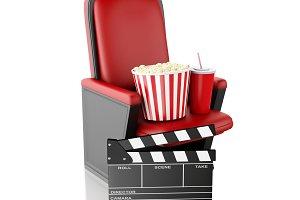 3d Cinema clapper board, popcorn and