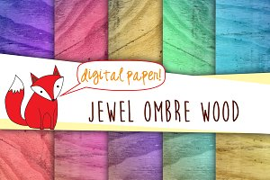 Wood Digital Paper- Ombre Jewel
