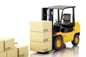 3d forklift truck with cardboard  bo