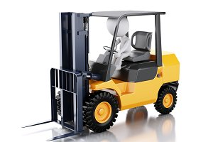 3d white people driving a forklift t