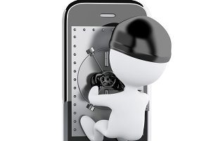 3d Smartphone with safe door. Mobile