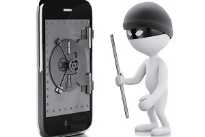 3d white people thief. Smartphone wi