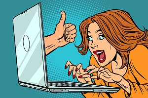like thumb up, woman blogger working