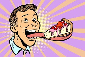 man with a cake in a long tongue