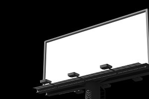 Blank billboard on black background