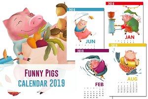 Calendar 2019 Funny Pigs, AI, EPS
